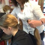 Becky has hair cut and donates hair to the Little Princess Trust for Children's Wigs.